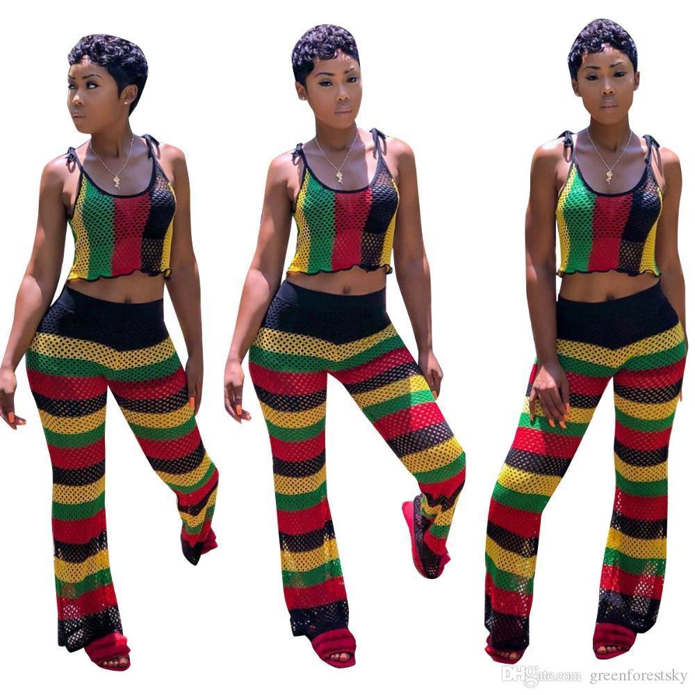 cad4405ab3d Hot Sale Grid Stripe Print Crop Top +Pants Two Pieces Suits Casual Jumpsuits  Rompers Summer Bodysuit Women Playsuit Online with  29.23 Set on ...