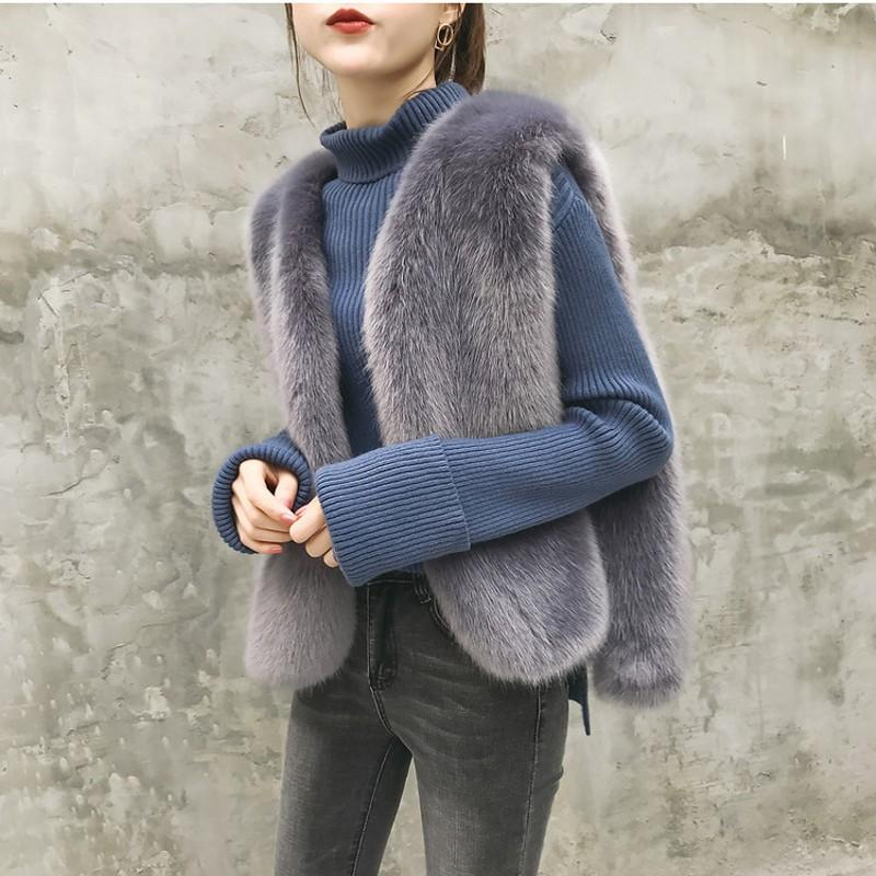 c0dc367e1 2019 New Winter Women's Faux Fox Fur Vest Long Furry Shaggy Woman Fake Fur  Vest Fashion Plus Size Vests High Quality