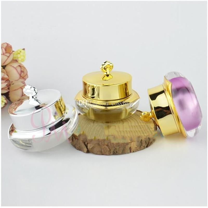 10g/10ml Empty Plastic Cosmetic Samples Container for Make Up, Eye Shadow, Nails, Powder,Gems,Beads Jewelry Small Gold silver Cream Pot 0125