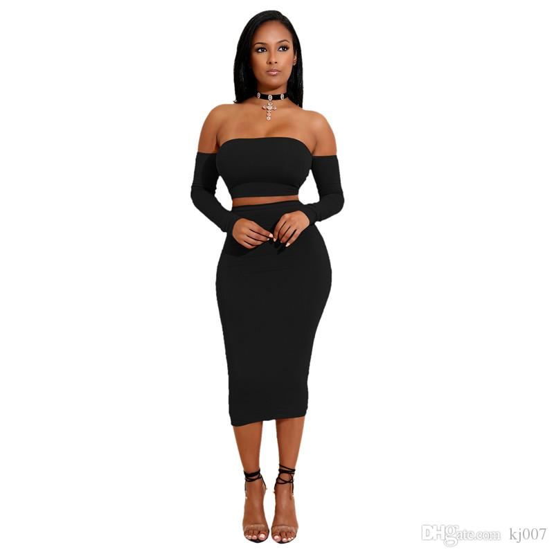 High Quality Summer Dodycon Dress Two-piece Set Women Jumpsuits Rompers Lady Sexy Halter Lace Dress Suits Long Sleeve Tops Tees Wholesale