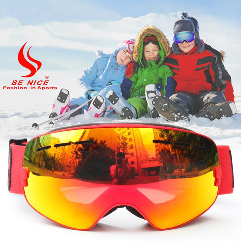 a0e5bb61579 2019 Benice Kids Snow Ski Goggles Glasses UV400 Anti Fog Safety Snowboarding  Skiing Goggles For 4 15 Years Old Children Kids Boy Girl From Annuum