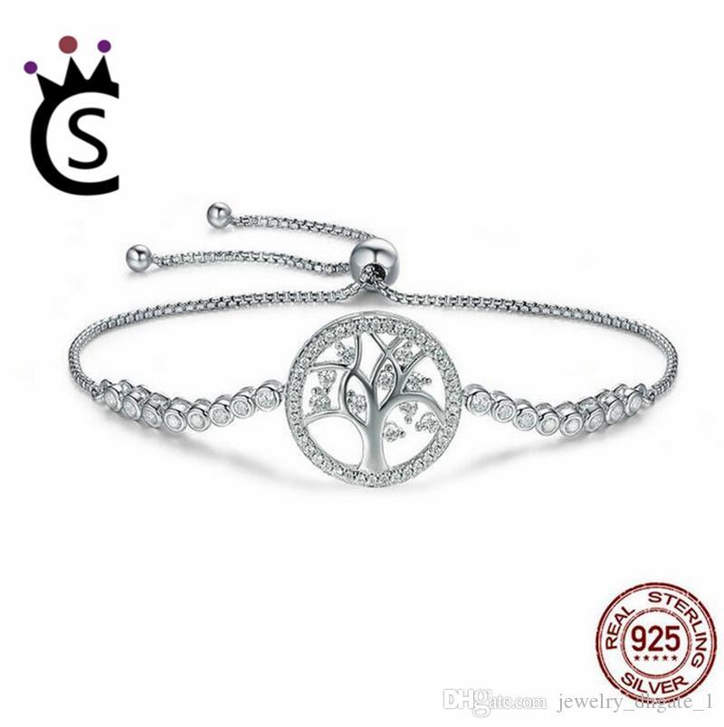 280714ed7 Hot Sale 100% 925 Sterling Silver Tree of Life Tennis Bracelet Women  Adjustable Link Chain Bracelet Silver Jewelry Bracelet Sterling Silver  Jewelry Online ...