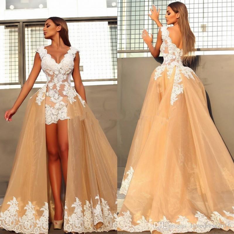 Сексуальные короткие мини свадебные платья с Overskirts V шеи белые кружева аппликация лиф свадебные платья
