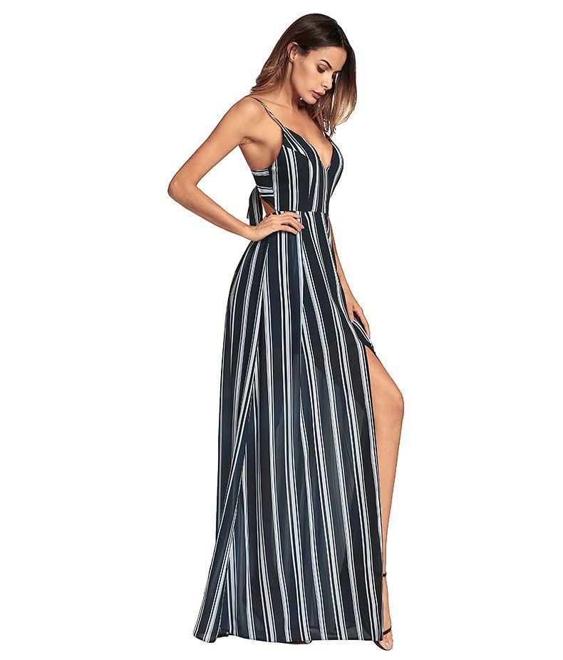 Vestido de fiesta largo con escote en V sin espalda con estampado de rayas sexy con cuello en V Vestido maxi vestido de fiesta incluso vestido largo