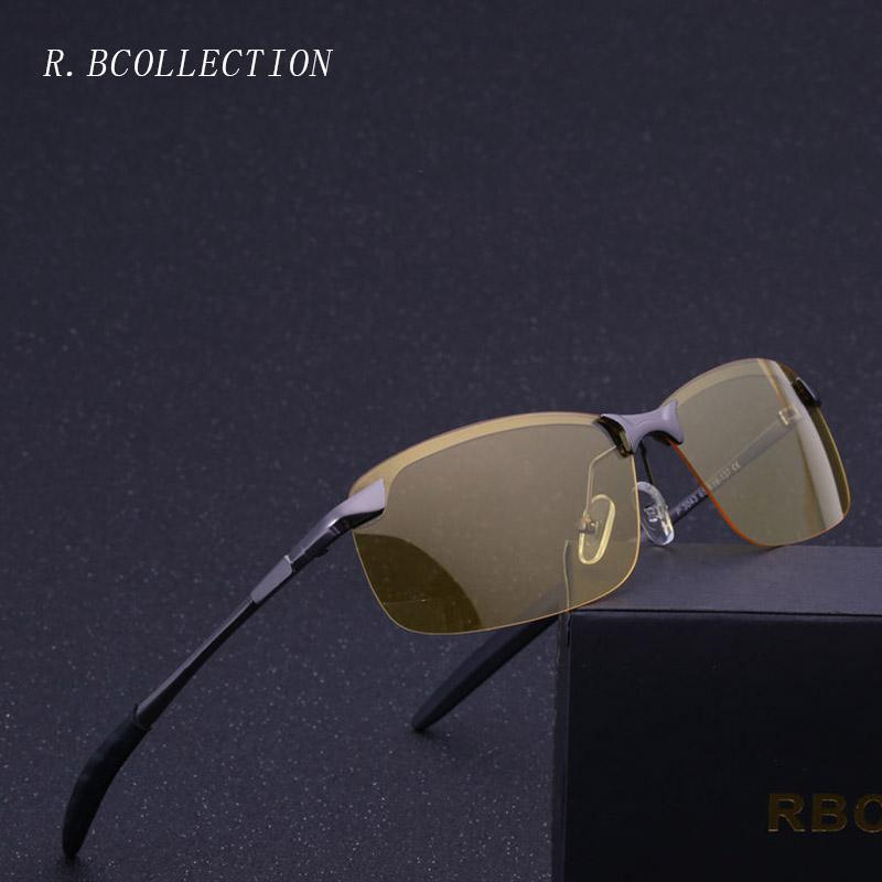 9309a4c712 R.BCOLLECTION Men Night Vision Polarized Sunglasses Metal Semi Rimless  Frame High Quality Glasses For Drivers Gafas De Sol3043 Prescription  Sunglasses ...