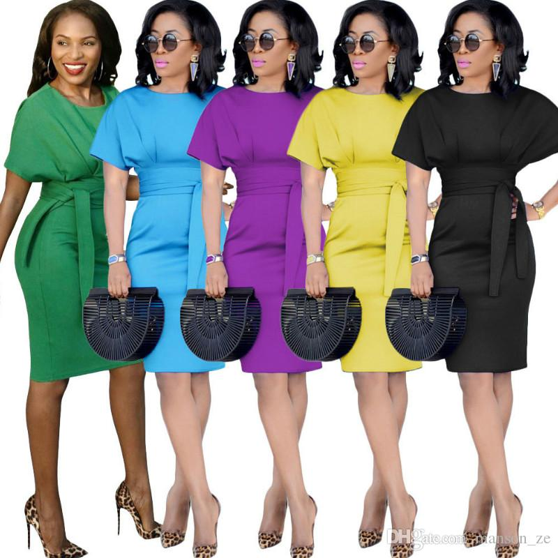 43305811592c Casual Office Midi Dress Women Formal Stretch Pencil Work Dresses Summer  Short Sleeve Bodycon Party Dress Belt Elegant Sexy Women Dresses Casual  Office ...
