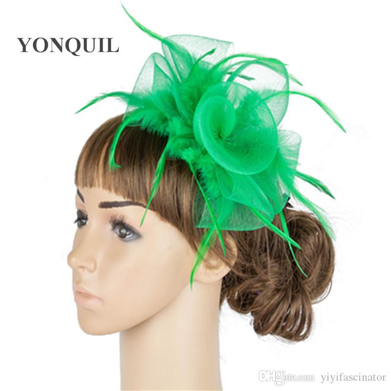 bf578b92 Fancy Green Color Crinoline Fascinator Headwear Colorful Mesh Feather Wedding  Race Show Hair Accessories Millinery Black Cocktail Hat SYF04 Red Wedding  Hat ...