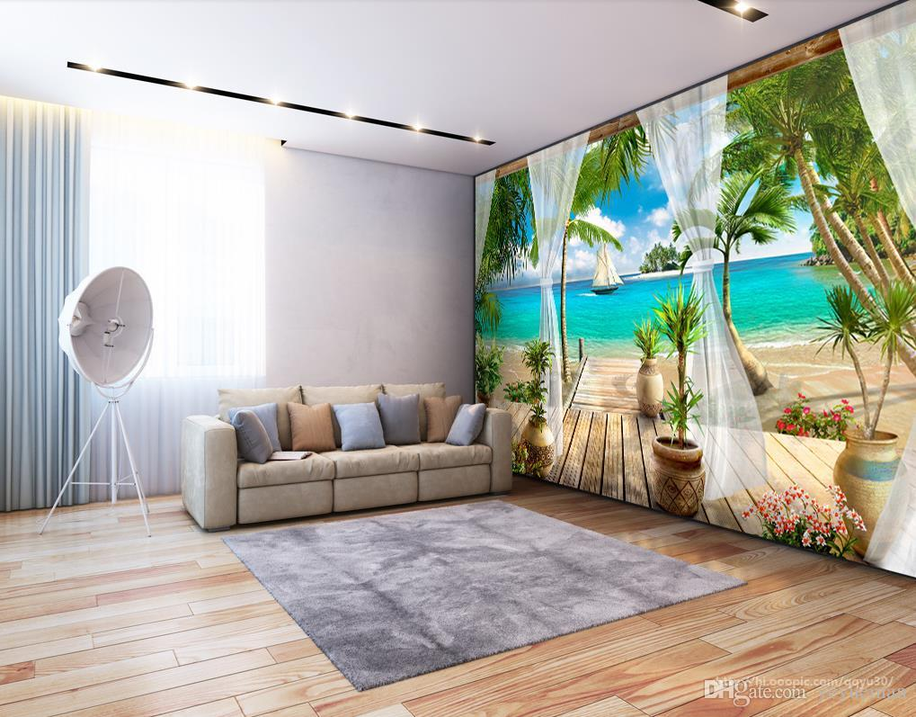 tapety 3d modern photo wallpaper High quality 3D stereoscopic Balcony sea view 3d wallpaper living room wall papers home decor