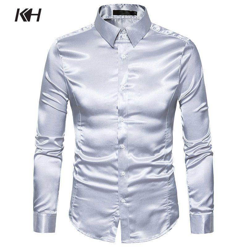ee57f9f676 KH Mens Fashion Shiny Satin Long Sleeve Casual Shirts Men's Slim Fit Dress  Shirt Performance clothing Banquet Shirt 10 Colors