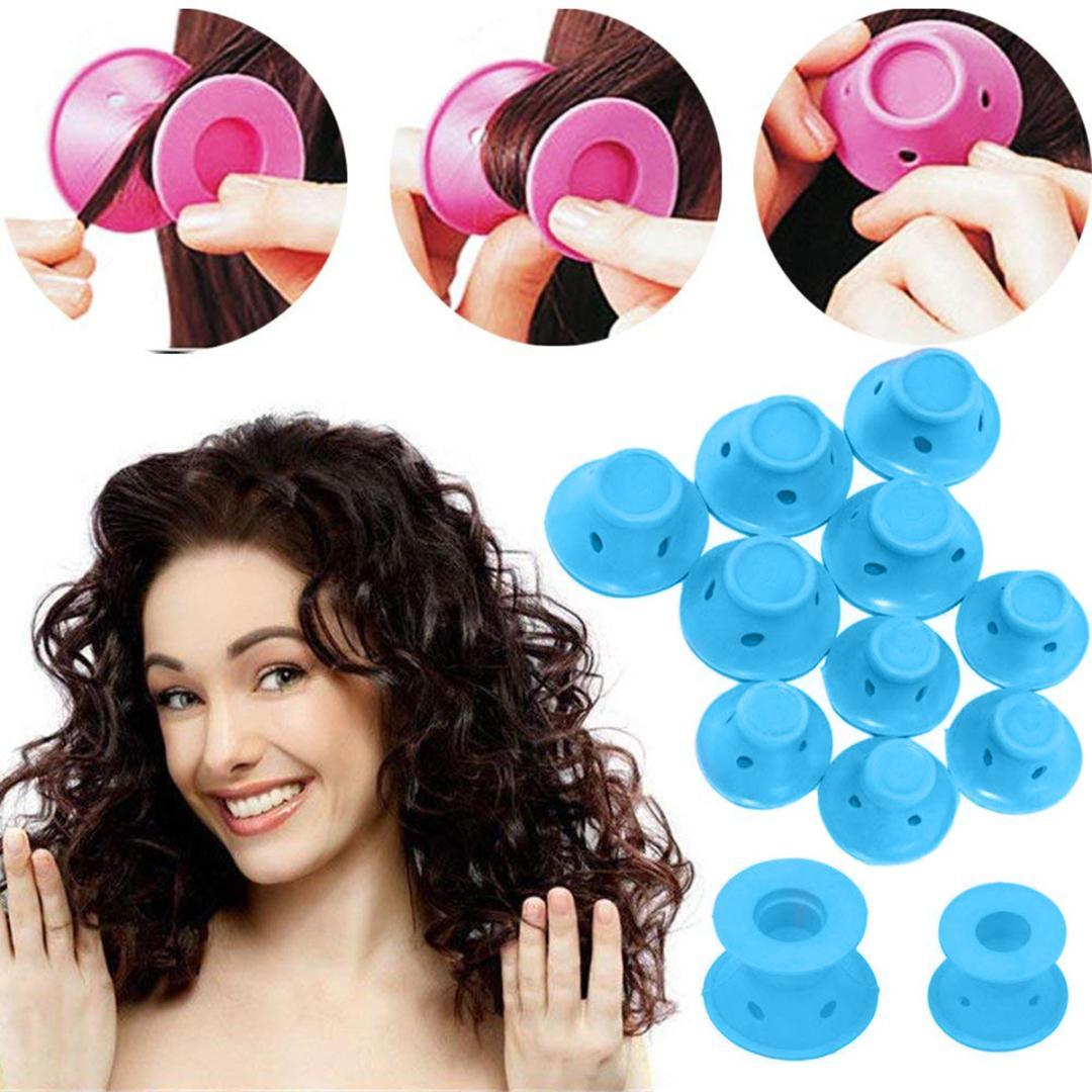 10pcs/set Soft Rubber Magic Hair Care Rollers Silicone Hair Curler No Heat Styling Tool blue