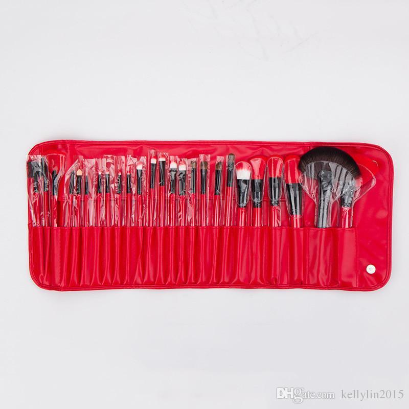 24 개 메이크업 브러쉬 세트 키트 레드 블랙 컬러 전문 화장품 메이크업 브러쉬 케이스 립 아이섀도 파운데이션 브러쉬 도구