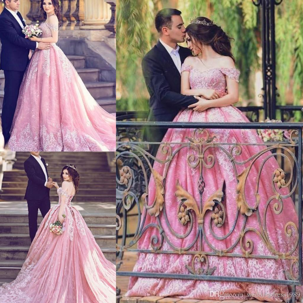 Exquisite Saudi Arabia Lace Plus Size Wedding Dresses Dubai Pink ...