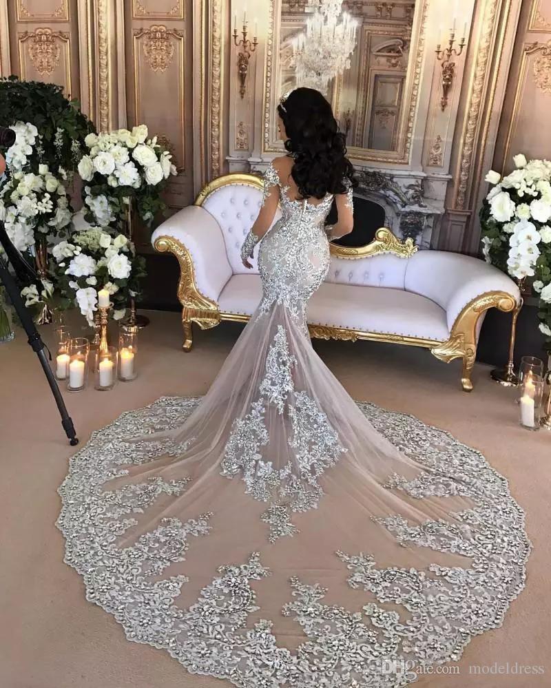 2019 Perline di cristallo d'epoca Alta collo arabo Mermaid Abiti da sposa a maniche lunghe Mermaid treno lungo africano Abiti da sposa vestido de novia