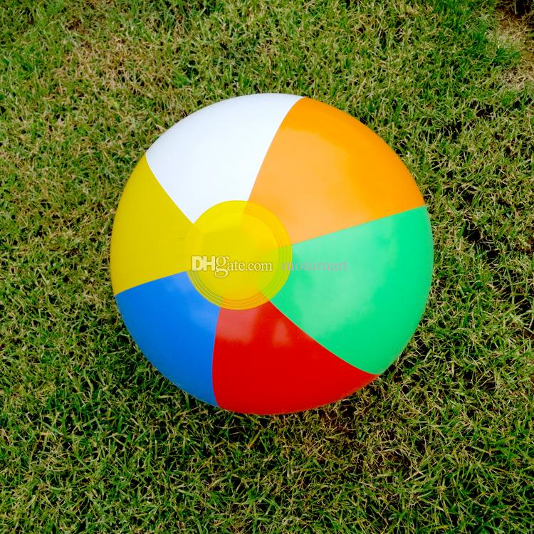 25 CM Rainbow Striped Beach Ball Inflatable Beach Ball Pool Toys Outdoor Sports Toys Water & Sand Play Gift