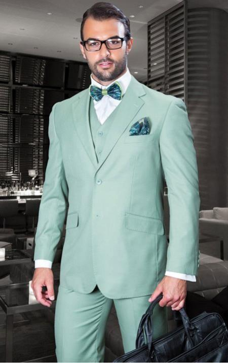 Men\'S Fashion Mint Green Men Suits Slim Fit Talior Made Groom Prom ...