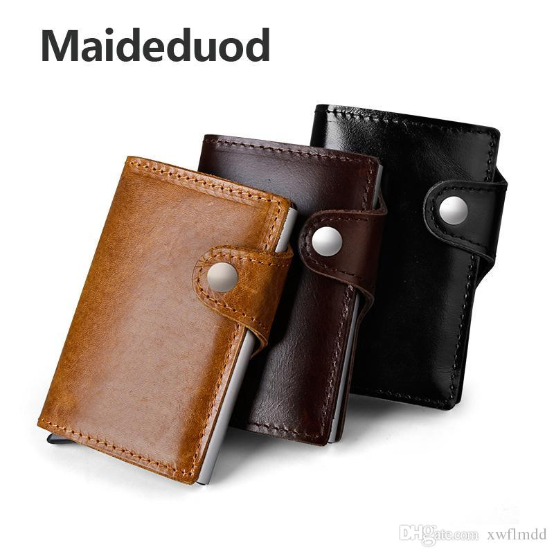 maideduod 2018 new genuine leather metal men card holder rfid aluminium high quality credit card holder with rfid blocking mini wallet card holder anti - Magnetic Card Holder