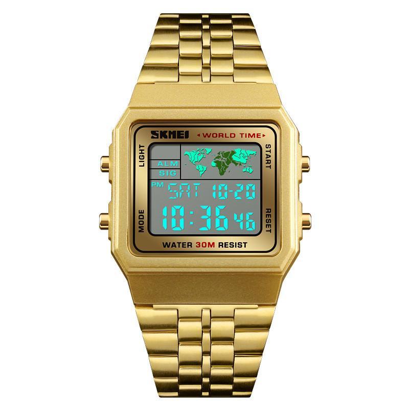63e4b4e5473 Compre Luxuly Mens Relógio De Pulso De Ouro Dourado Relógios Digitais De  Aço Inoxidável Top Marca Relogio Masculino Saatler Relógio Masculino 1338  De ...