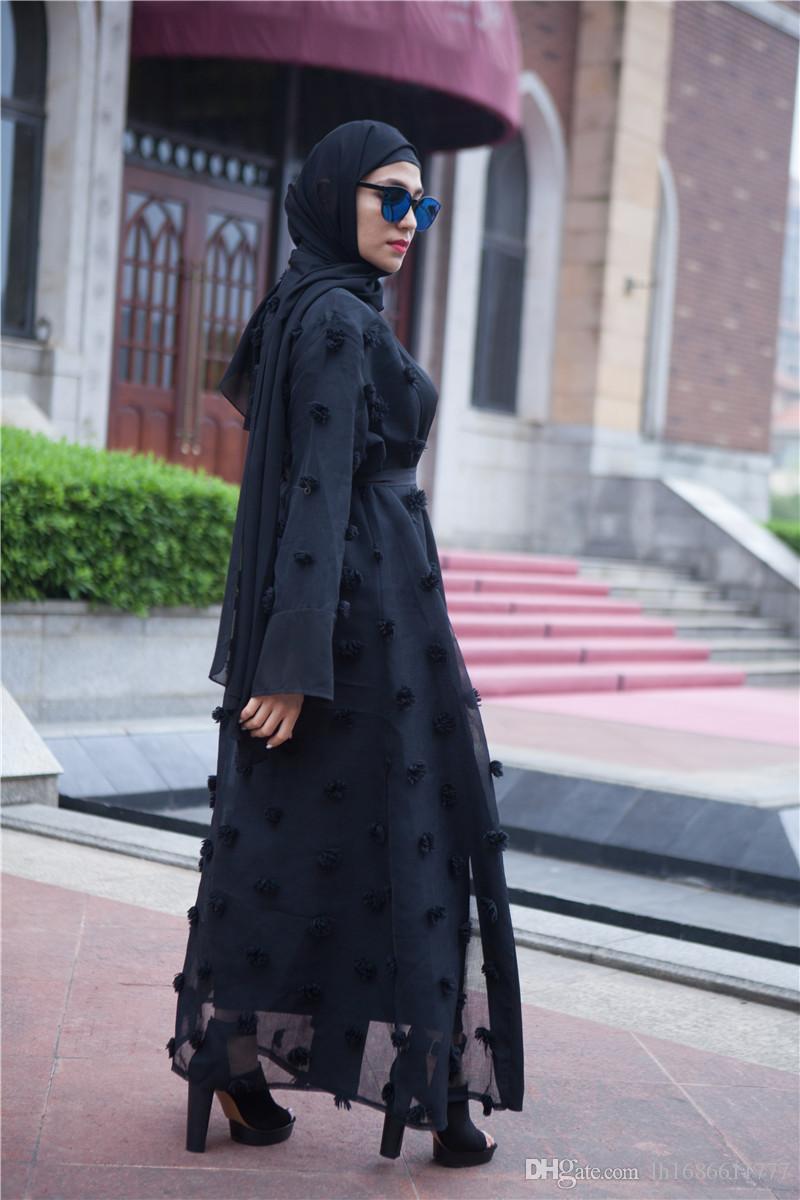 2958b97337fb13 Elégant Musulman Abaya Floral Maxi Dress Cardigan FLowers Jupe Applique  Longue Robe Tunique Moyen-Orient Ramadan Islamic Femme Vêtements