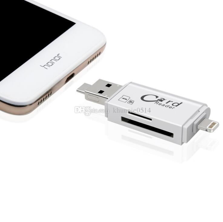3 en 1 i-Flash Drive Multi-Card OTG Reader Micro SD TF Memoria USB Card Reader Adapter para iPhone 8 7 6 Andriod PC
