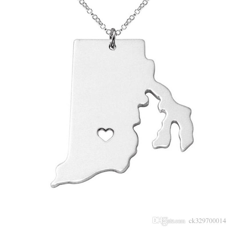 wholesale Rhode Island State map Necklace charm pendant Necklaces summer style Necklace jewelry gift