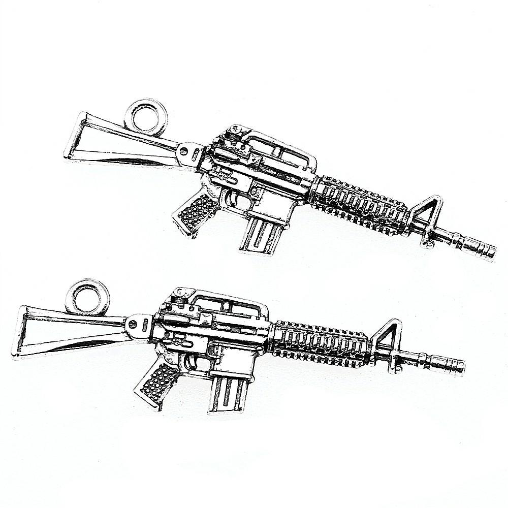 8pcs Charms Submachine Guns Charms Sniper Rifle Tibetan Silver Jewelry  Making Accessories Machine Guns 13x44mm