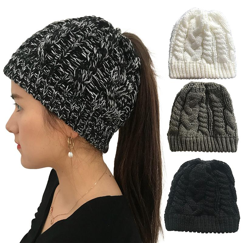 Women Winter Ponytail Beanie Hat Bun Knitted Cap Stretchy Ladies Warm Hats  Winter Fashion Summer Hats Funny Hats From Clintcapela caf41747559