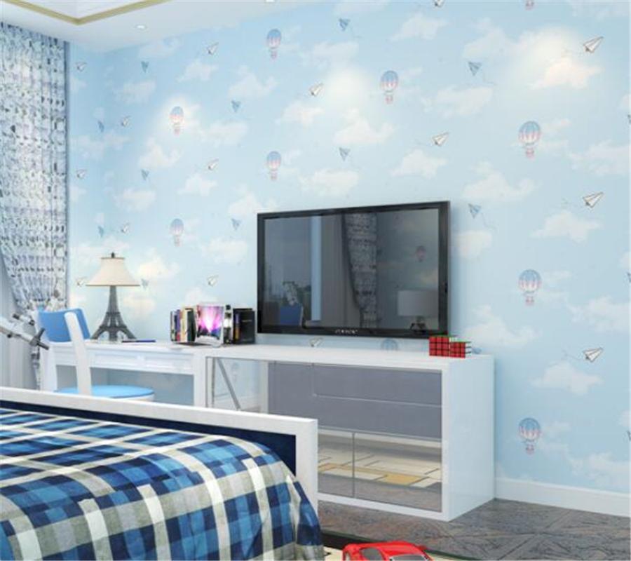 Beibehang Kids Room Wallpaper Cartoon Hot Air Balloon Environmental