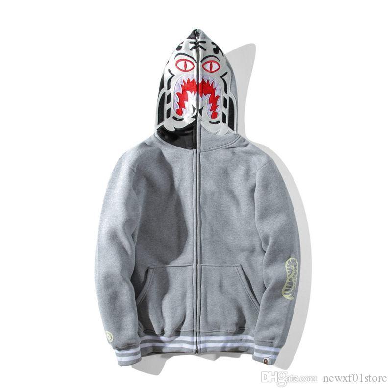 912e81c88e4 Compre A Bathing A Ape Shark Varsity Hoodie Grey 1Bape Hoodie Hoodies  Sudaderas A  86.3 Del Newxf01store
