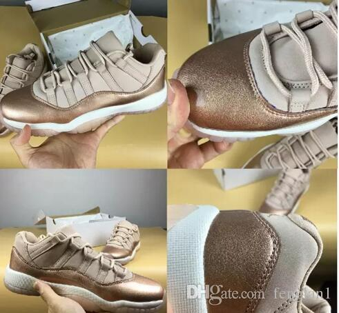 743fe81301f 2018 New Design High Quality 11 Men Kids Women Rose Gold Basketball Shoes  Wholesale 11s Women Gold Sports Sneakers With Box Size 36 43 Tennis Shoes  For Kids ...