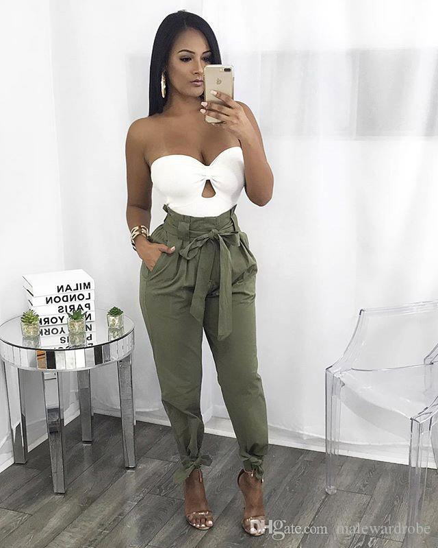 Women Casual High Waist Pants Solid Color Bandage Design Harem Pants Fashion Trousers with Sashes