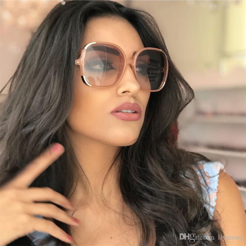 87db9d20dd9 2018 Fashion Oversized Round Sunglasses Women Brand Designer Vintage  Gradient Shades Sun Glasses UV400 Oculos Feminino Lentes UV400 Cheap  Designer ...