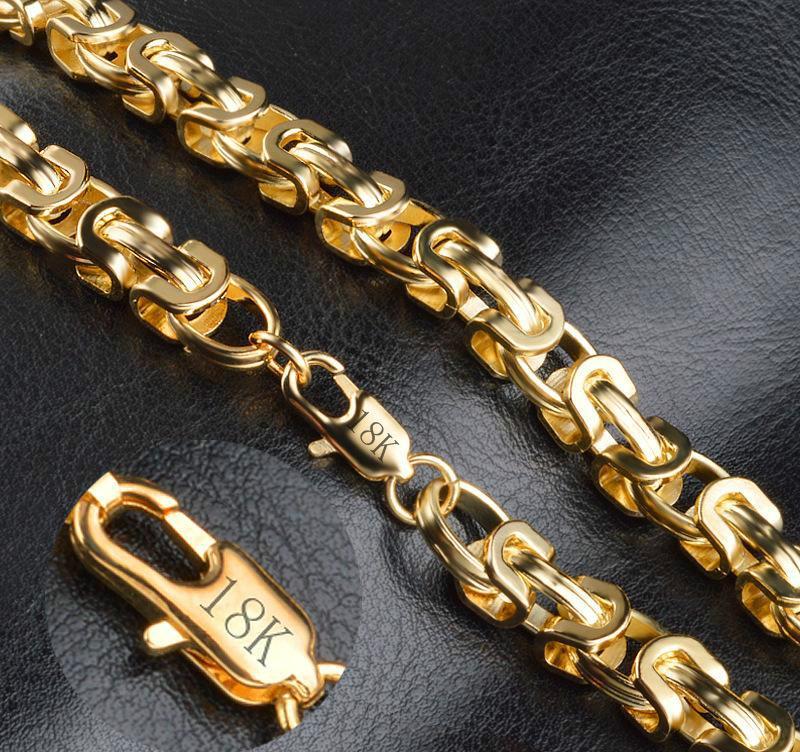 Großhandel 18k Gestempelt Vintage Lange Goldkette Für