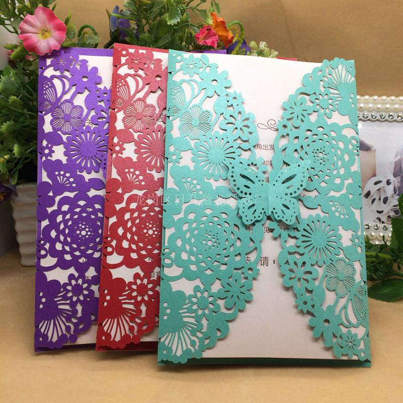 Butterfly Wedding Invitation Cards Multi-color Laser Cut Bussiness ...