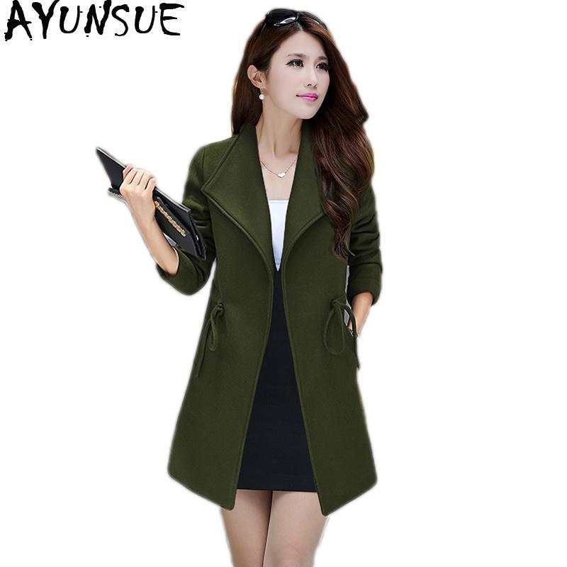 54f8aa1fd7426 2019 AYUNSUE Abrigos Mujer Invierno 2018 Woolen Coat Pus Size 4XL 5XL 6XL  Korean Style Long Coat Women Outwear Casaco Feminino KJ173 From Vanilla01