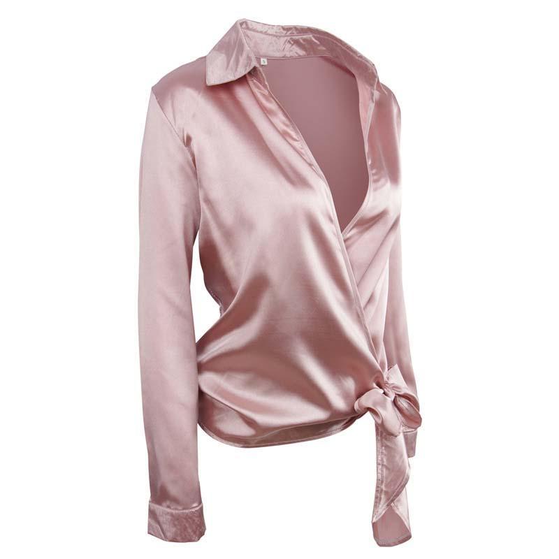 2018 새로운 여성 셔츠 매듭 V - 목 섹시한 짧은 - 긴팔 셔츠 여성 솔리드 컬러 여름 여름 가을 여성 의류 블라우스