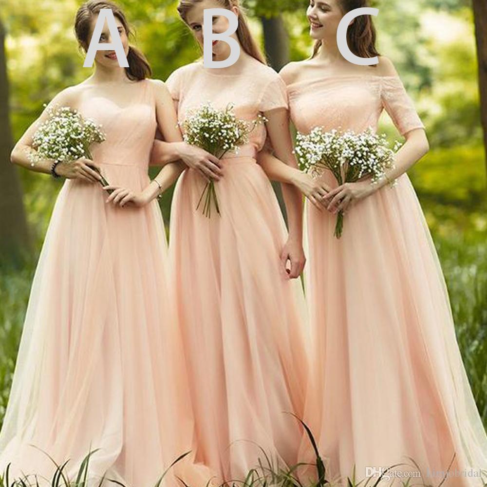 Vestidos de dama de honor de melocotón Prom 2018 cariño estilo diferente de encaje Tulle larga dama de honor Vestidos piso de longitud vestido de Bridesmaid