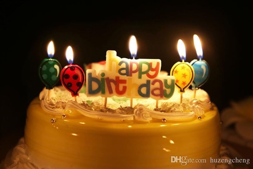 English Letters Happy Birthday Candles Four Balloons Creative Candle Set Shop Online Shopping From Huzengcheng 644