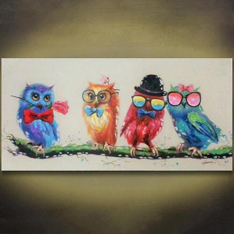 Online Cheap Colorful Owl Art Oil Painting Animal Hand Painted Acrylic Paintings Cartoon Cute Birds Wallpaper Modern Home Decor Wall Pictures By