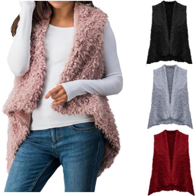 b739d43365 Gilet donna senza maniche in cashmere Gilet in lana tinta unita Winter  casual Irregualr cardigan plus size cappotto caldo con cappuccio outwear  S-3XL ...