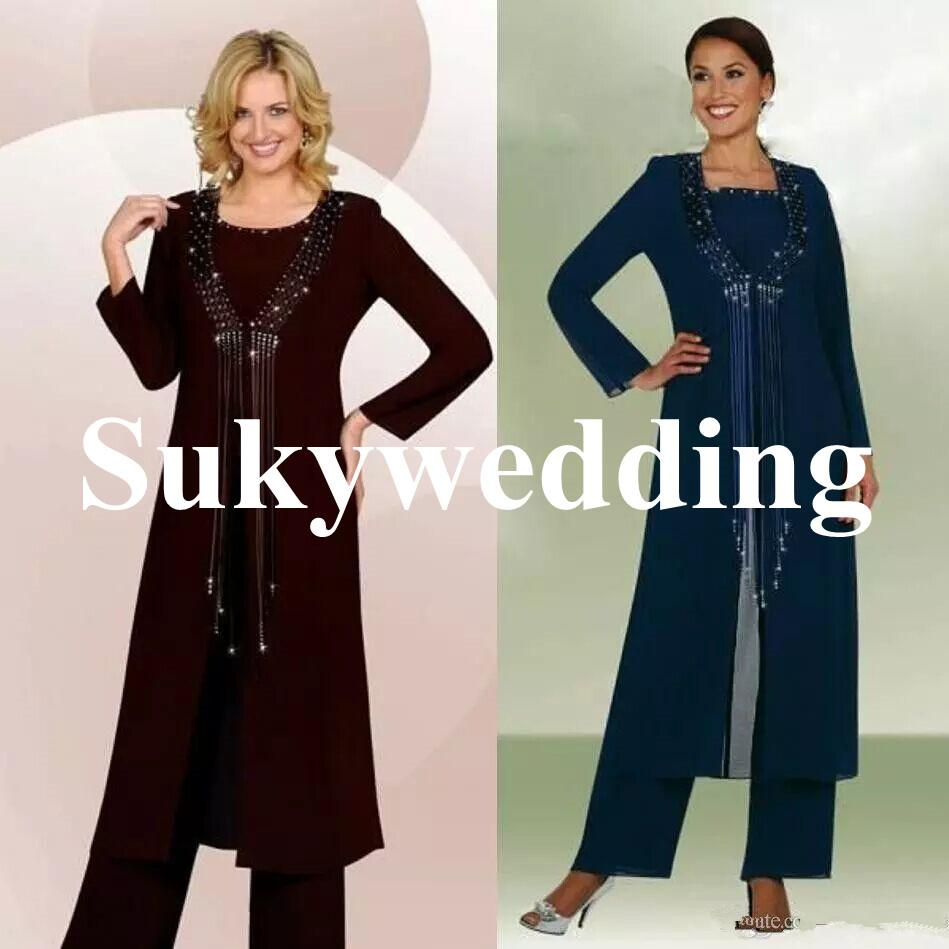 Mother of the Bride Suits for Weddings Three Pieces Beads Women Formal Pants Suits with Jacket Long Sleeve Chiffon Mothers Groom Suits