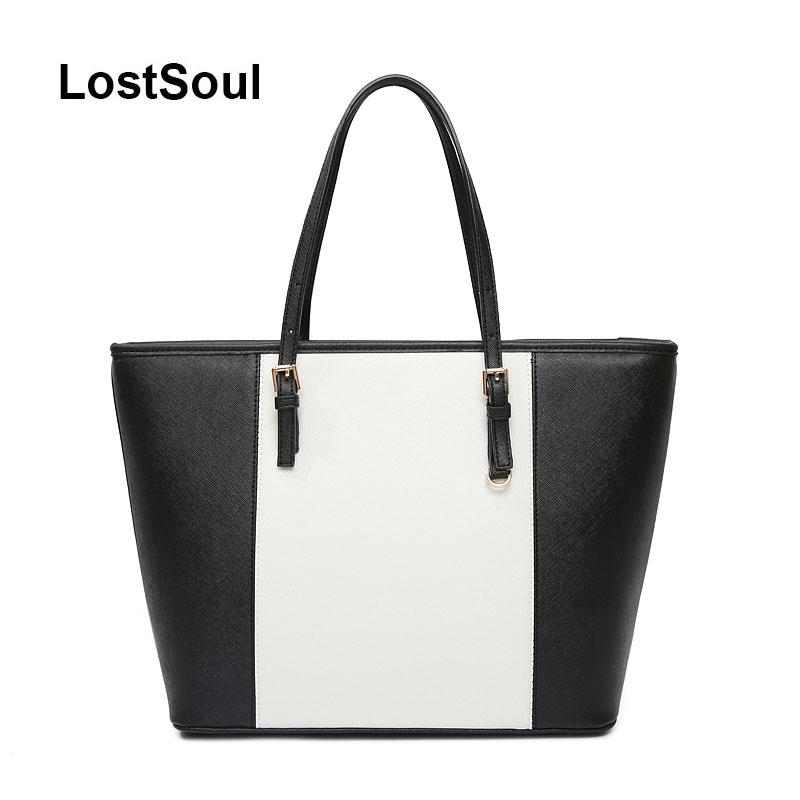 619b3eff0c81 LostSoul Toothpick Stripes Top Handle Bags Designer Women Leather Handbags  Ladies Famous Brands Fashion Totes Black And White Fiorelli Handbags Ladies  ...