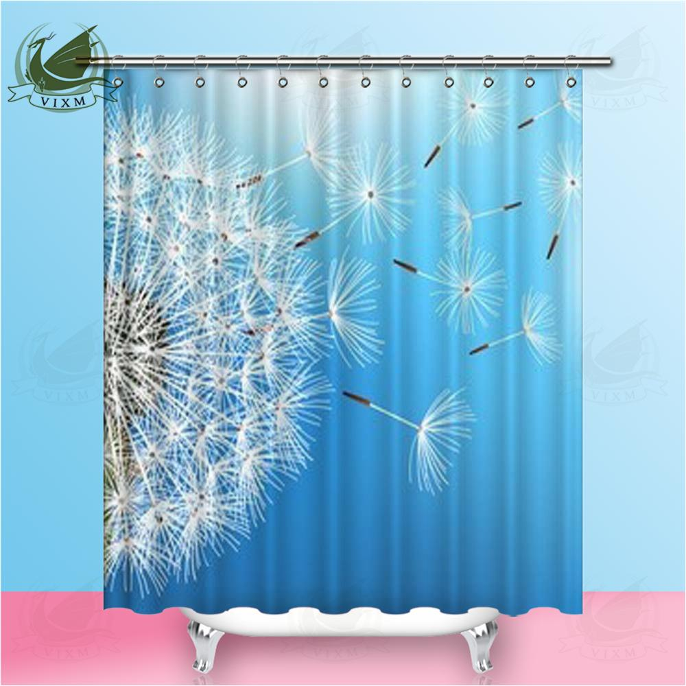 2019 Vixm Home Blowing Dandelion Seeds Fabric Shower Curtain Trendy Natural Blue Bath For Bathroom With Hook Rings 72 X From Bestory