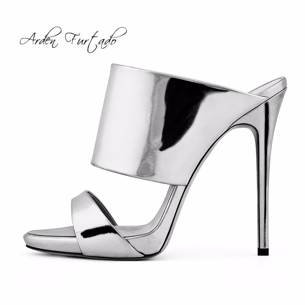 5a117985fef 2018 Summer High Heels 12cm Fashion Platform Slipper Open Toe Silver ...