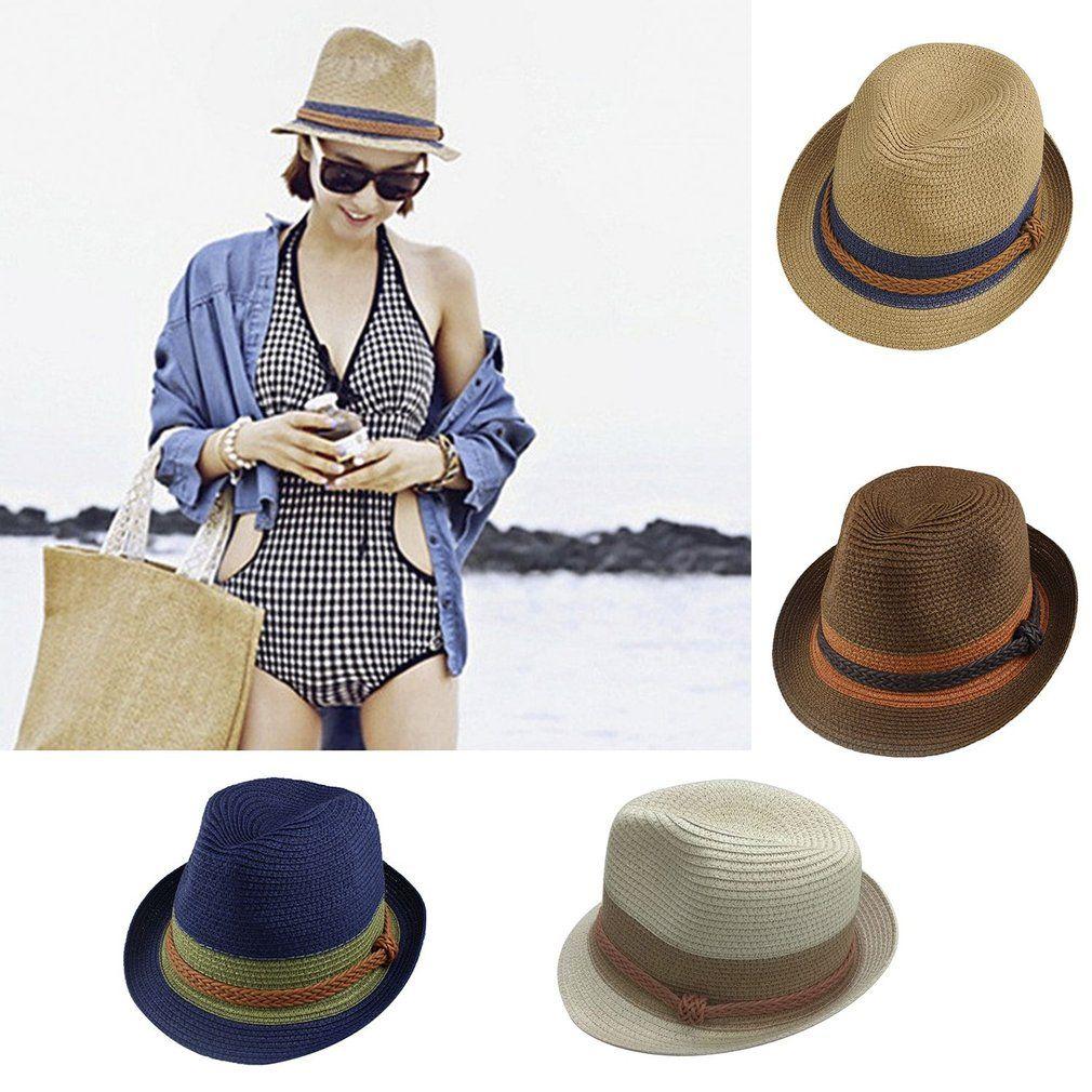 f1c99c735e7 Trendy Design Women Girls Summer Hat Casual Fashion Ladies Stitching Color  Sun Block UV Protection Straw Hat Jazz Caps Bucket Hat Fedora Hat From  Wonderliu