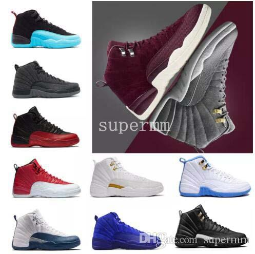 buy popular 7e72c f608a Compre 2018 New 12 Bordeaux Zapatos De Baloncesto De Lana Gris Oscuro Ovo  Blanco Juego De La Gripe Unc Gym Taxi Rojo Cereza French Blue Suede  Sneakers A ...