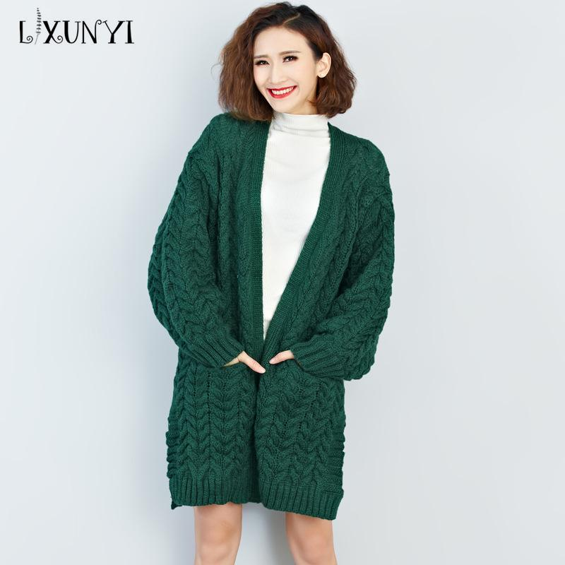ae02836784 2019 Big Plus Size Sweater Women Long Cardigan 2018 Autumn Winter Fashion  Loose Coat Jacket V Collar Female Thick Knitted Sweater Top From Yukime