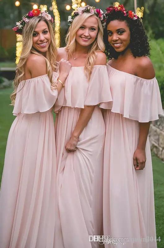 Blush Paese abiti da sposa d'epoca 2020 Modest fuori dalla spalla Chiffon spiaggia Boemia Junior damigella d'onore degli abiti di un matrimonio