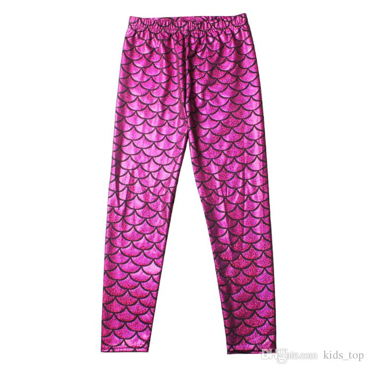 Kids Girls Mermaid Pants Colorful Digital Printing Pencil Trousers Kids Mermaid Fish Scale Shiny Leggings LA603-2