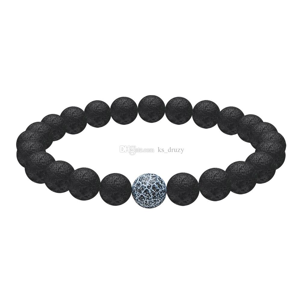 Weathered Agate Natural Black Lava Stone Beads Elastic Bracelet Essential Oil Diffuser Bracelet Volcanic Rock Beaded Hand Strings