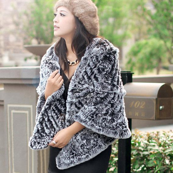 070124 Real Knitted REX rabbit raccoon fur shawl poncho stole cape wrap very soft Recommend